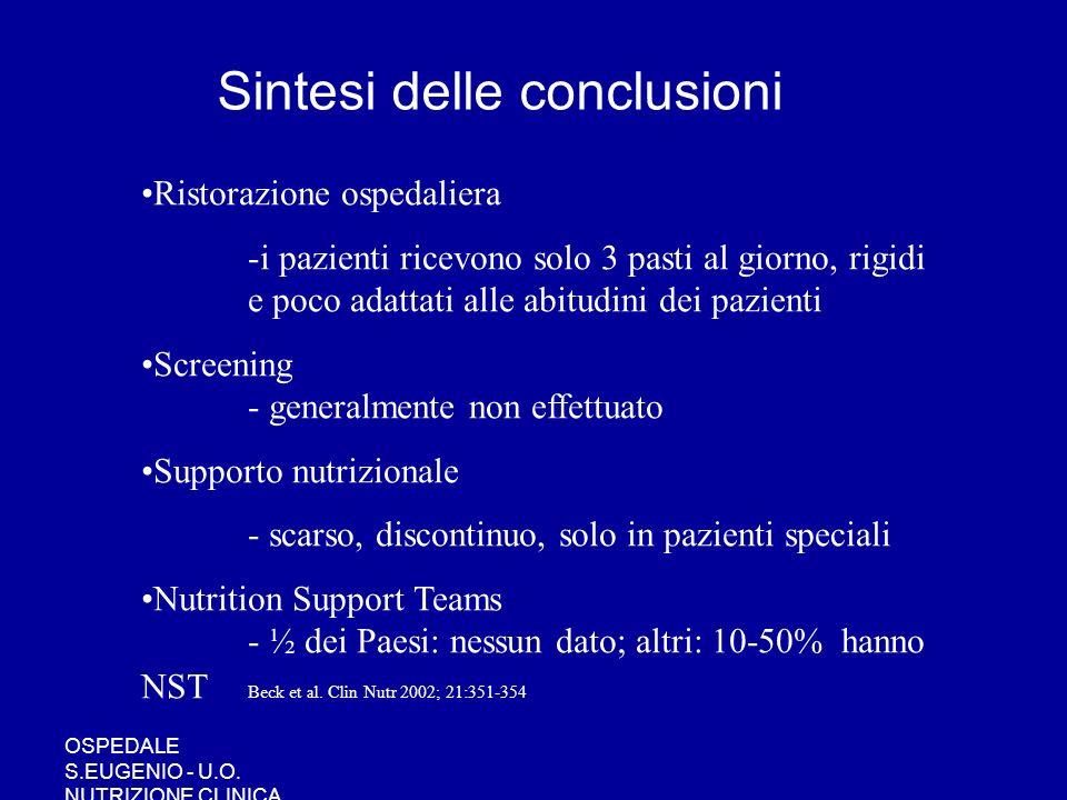 OSPEDALE S.EUGENIO - U.O. NUTRIZIONE CLINICA Ristorazione ospedaliera -i pazienti ricevono solo 3 pasti al giorno, rigidi e poco adattati alle abitudi