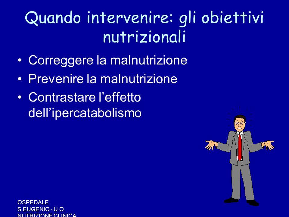 OSPEDALE S.EUGENIO - U.O. NUTRIZIONE CLINICA Quando intervenire: gli obiettivi nutrizionali Correggere la malnutrizione Prevenire la malnutrizione Con