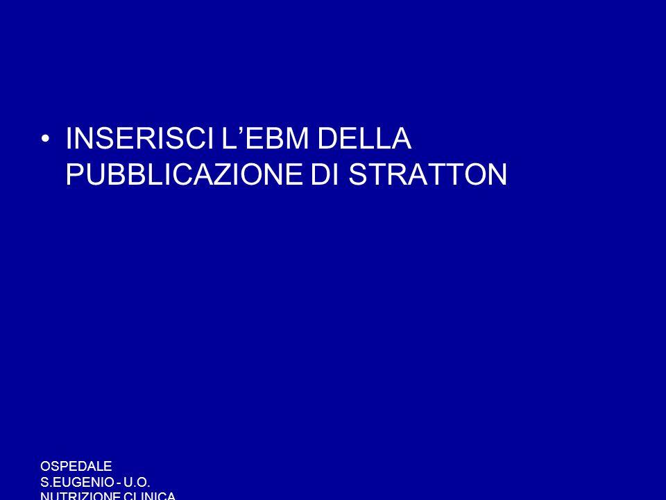 OSPEDALE S.EUGENIO - U.O. NUTRIZIONE CLINICA INSERISCI LEBM DELLA PUBBLICAZIONE DI STRATTON
