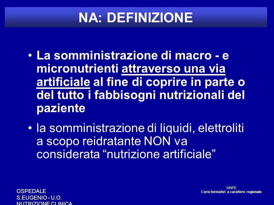 OSPEDALE S.EUGENIO - U.O. NUTRIZIONE CLINICA NA: DEFINIZIONE La somministrazione di macro - e micronutrienti attraverso una via artificiale al fine di
