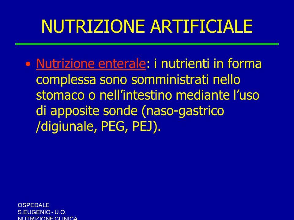 OSPEDALE S.EUGENIO - U.O. NUTRIZIONE CLINICA NUTRIZIONE ARTIFICIALE Nutrizione enterale: i nutrienti in forma complessa sono somministrati nello stoma