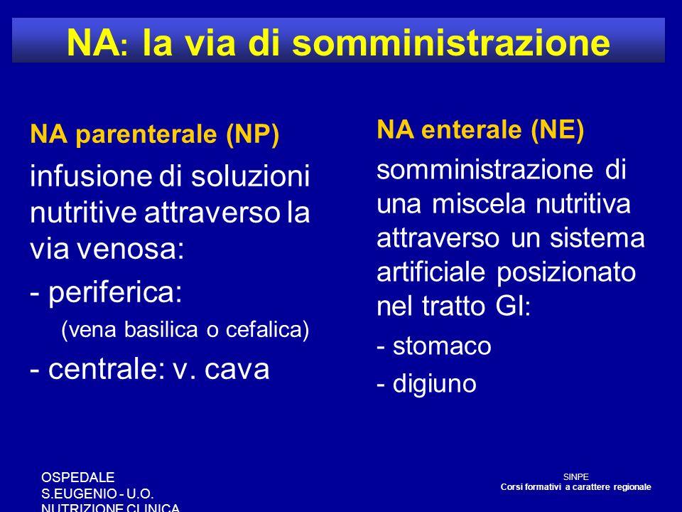 OSPEDALE S.EUGENIO - U.O. NUTRIZIONE CLINICA NA : la via di somministrazione NA parenterale (NP) infusione di soluzioni nutritive attraverso la via ve