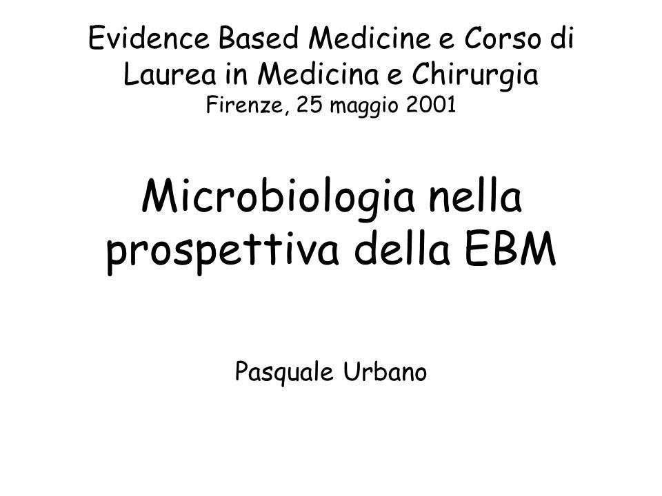 Evidence Based Medicine e Corso di Laurea in Medicina e Chirurgia Firenze, 25 maggio 2001 Microbiologia nella prospettiva della EBM Pasquale Urbano