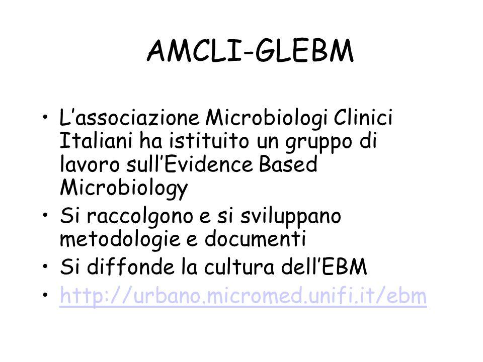 AMCLI-GLEBM Lassociazione Microbiologi Clinici Italiani ha istituito un gruppo di lavoro sullEvidence Based Microbiology Si raccolgono e si sviluppano metodologie e documenti Si diffonde la cultura dellEBM http://urbano.micromed.unifi.it/ebm