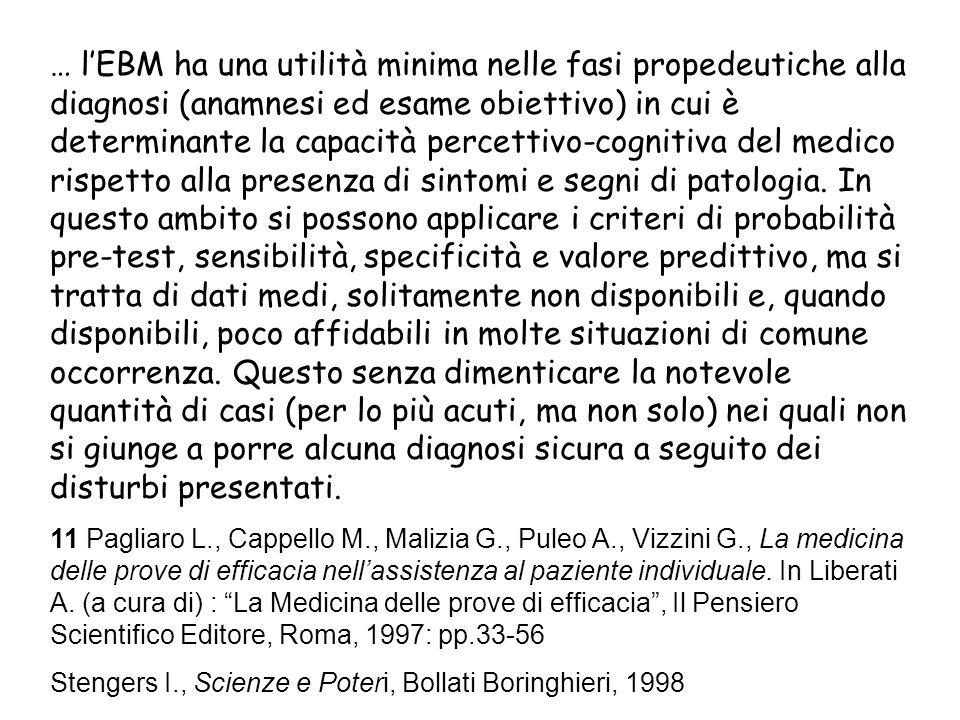 … lEBM ha una utilità minima nelle fasi propedeutiche alla diagnosi (anamnesi ed esame obiettivo) in cui è determinante la capacità percettivo-cognitiva del medico rispetto alla presenza di sintomi e segni di patologia.