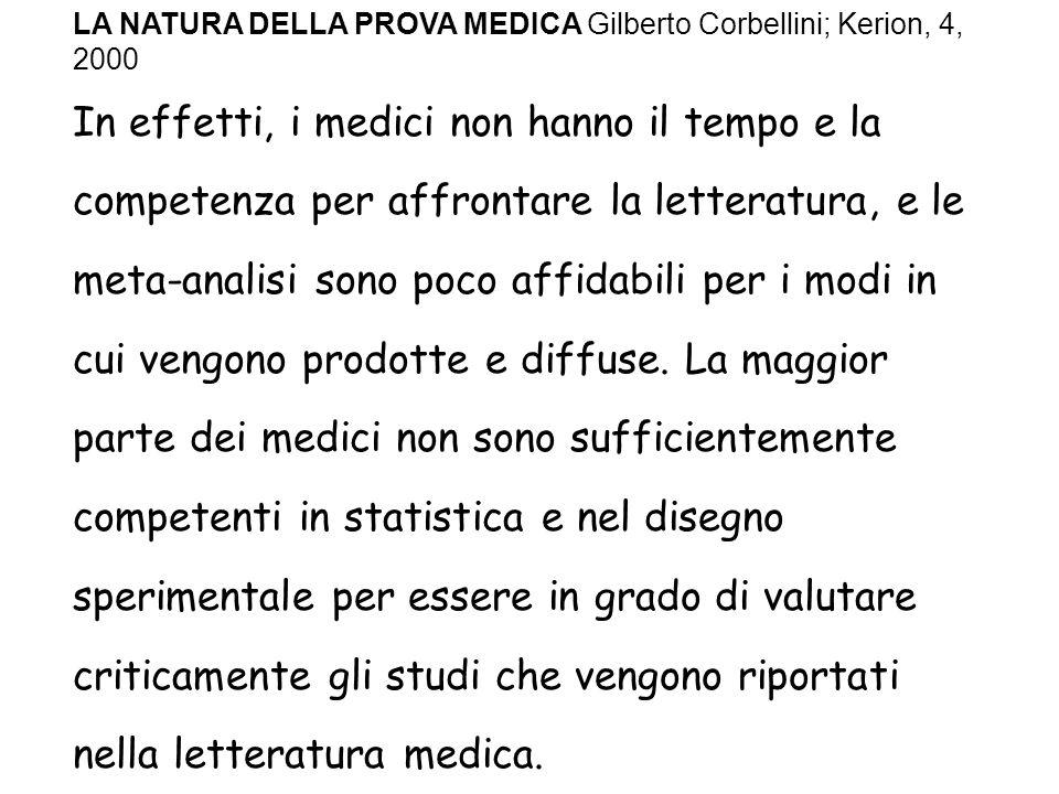 In effetti, i medici non hanno il tempo e la competenza per affrontare la letteratura, e le meta-analisi sono poco affidabili per i modi in cui vengono prodotte e diffuse.