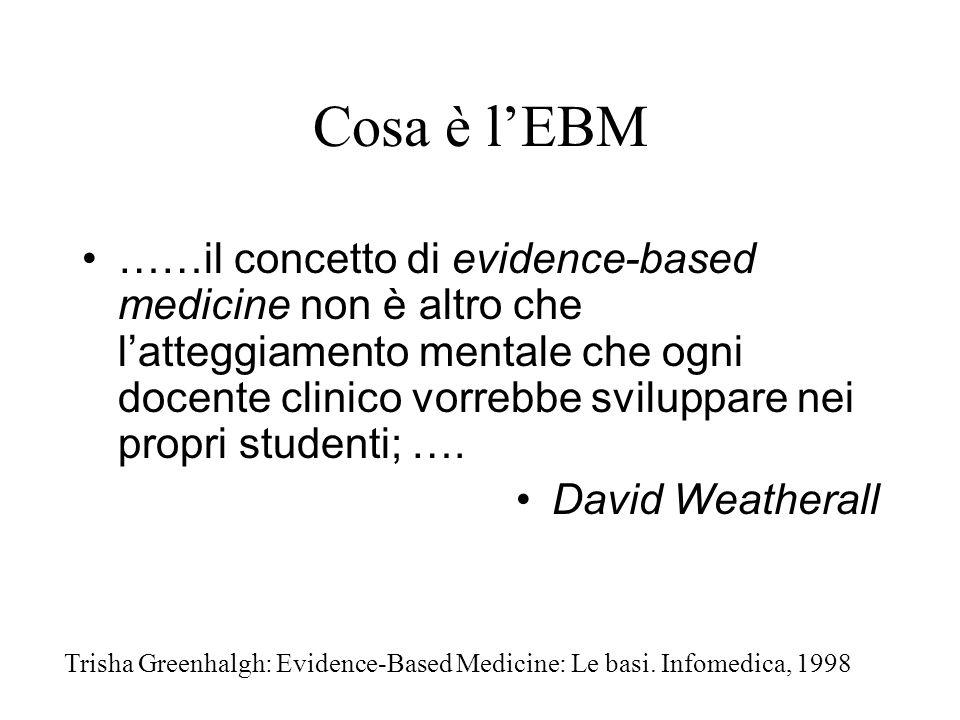 Cosa è lEBM ……il concetto di evidence-based medicine non è altro che latteggiamento mentale che ogni docente clinico vorrebbe sviluppare nei propri studenti; ….