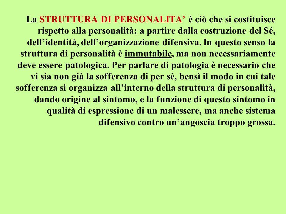 La STRUTTURA DI PERSONALITA è ciò che si costituisce rispetto alla personalità: a partire dalla costruzione del Sé, dellidentità, dellorganizzazione d