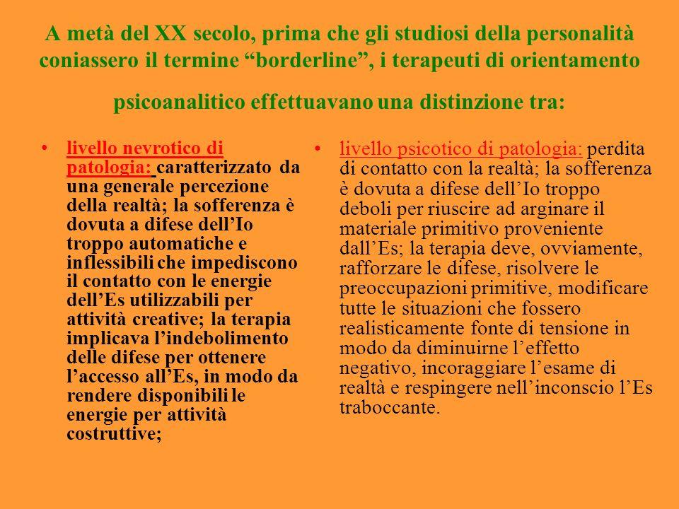 A metà del XX secolo, prima che gli studiosi della personalità coniassero il termine borderline, i terapeuti di orientamento psicoanalitico effettuava