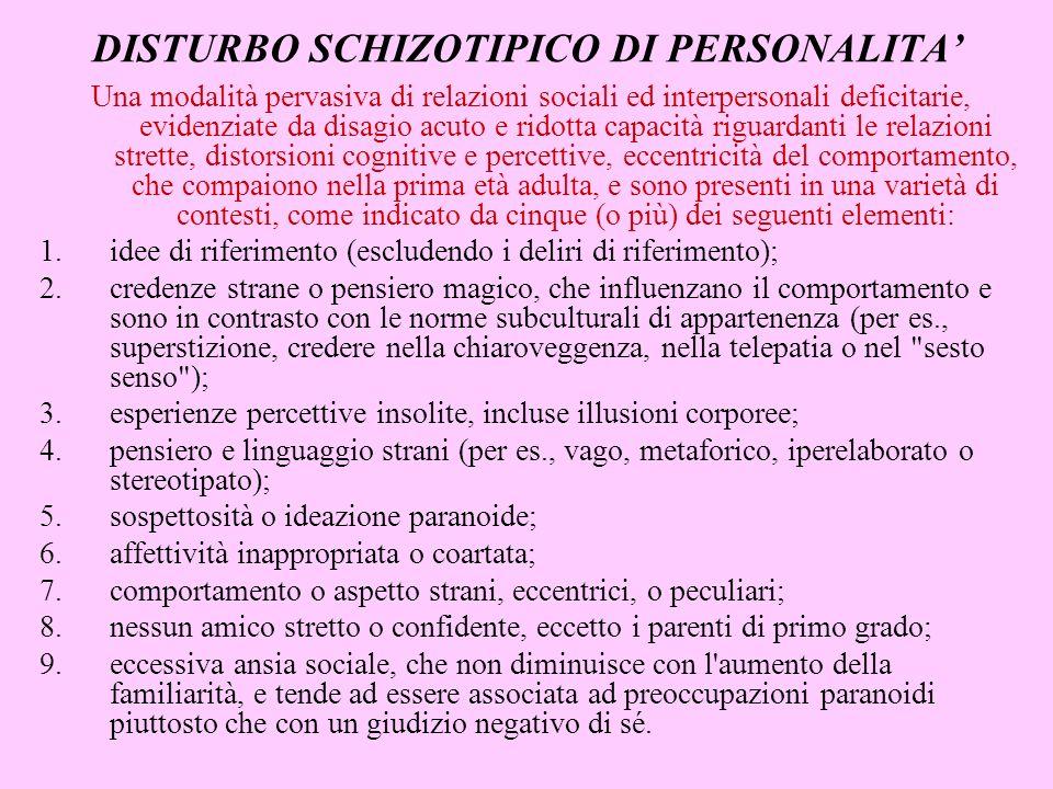 Una modalità pervasiva di relazioni sociali ed interpersonali deficitarie, evidenziate da disagio acuto e ridotta capacità riguardanti le relazioni st