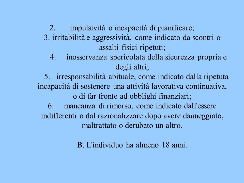 2.impulsività o incapacità di pianificare; 3. irritabilità e aggressività, come indicato da scontri o assalti fisici ripetuti; 4. inosservanza sperico