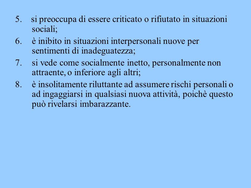 5. si preoccupa di essere criticato o rifiutato in situazioni sociali; 6.è inibito in situazioni interpersonali nuove per sentimenti di inadeguatezza;