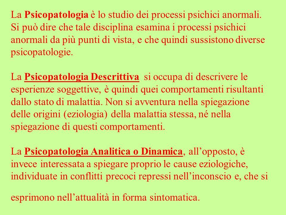 La Psicopatologia è lo studio dei processi psichici anormali. Si può dire che tale disciplina esamina i processi psichici anormali da più punti di vis