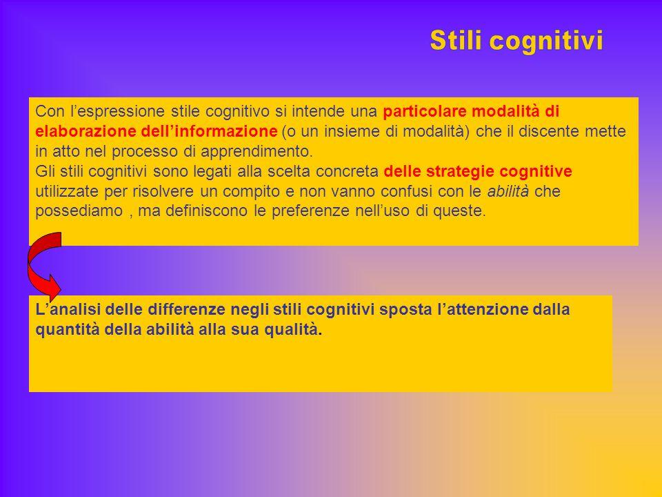 Con lespressione stile cognitivo si intende una particolare modalità di elaborazione dellinformazione (o un insieme di modalità) che il discente mette in atto nel processo di apprendimento.