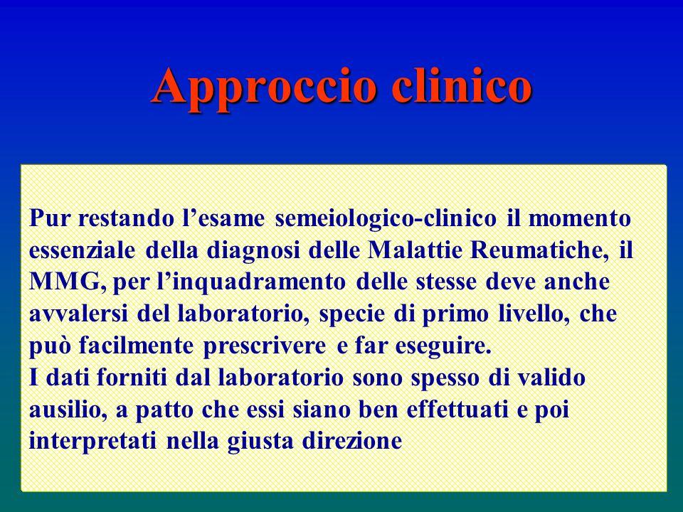 Pur restando lesame semeiologico-clinico il momento essenziale della diagnosi delle Malattie Reumatiche, il MMG, per linquadramento delle stesse deve