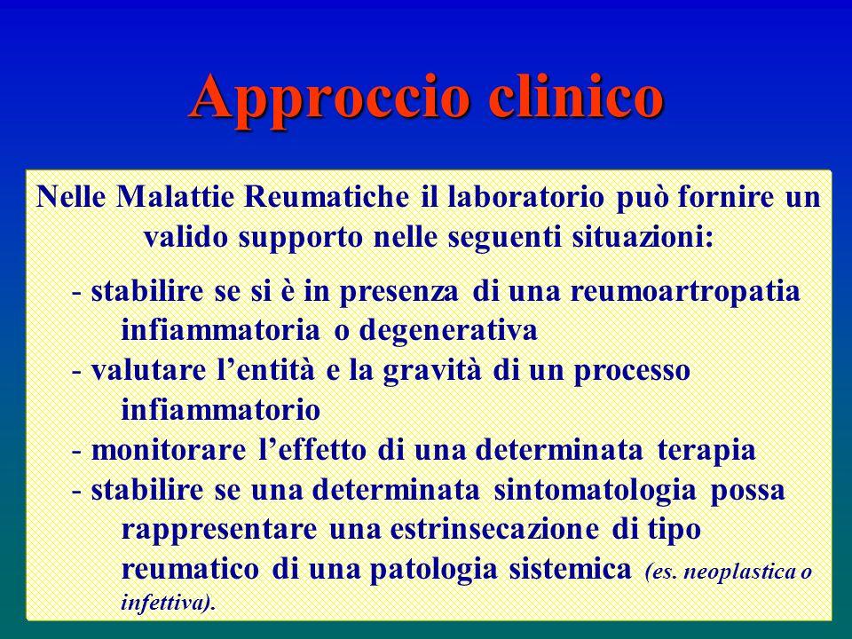 Nelle Malattie Reumatiche il laboratorio può fornire un valido supporto nelle seguenti situazioni: - stabilire se si è in presenza di una reumoartropa