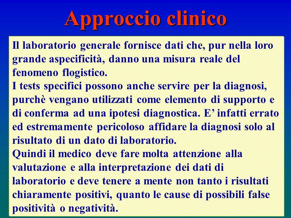 Approccio clinico Il laboratorio generale fornisce dati che, pur nella loro grande aspecificità, danno una misura reale del fenomeno flogistico.