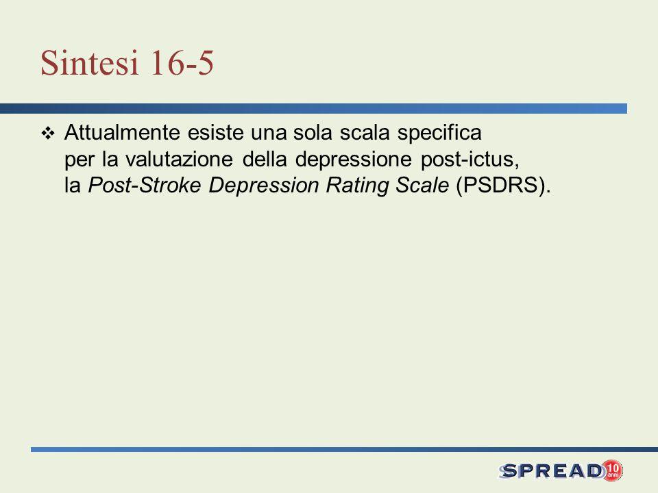 Sintesi 16-5 Attualmente esiste una sola scala specifica per la valutazione della depressione post-ictus, la Post-Stroke Depression Rating Scale (PSDR