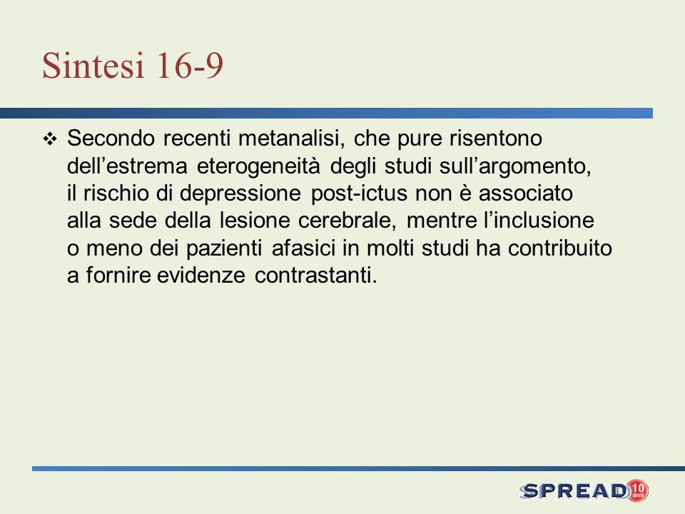 Sintesi 16-9 Secondo recenti metanalisi, che pure risentono dellestrema eterogeneità degli studi sullargomento, il rischio di depressione post-ictus n