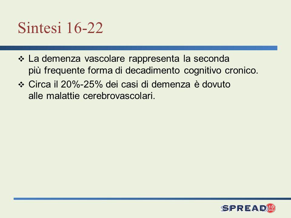 Sintesi 16-22 La demenza vascolare rappresenta la seconda più frequente forma di decadimento cognitivo cronico. Circa il 20%-25% dei casi di demenza è
