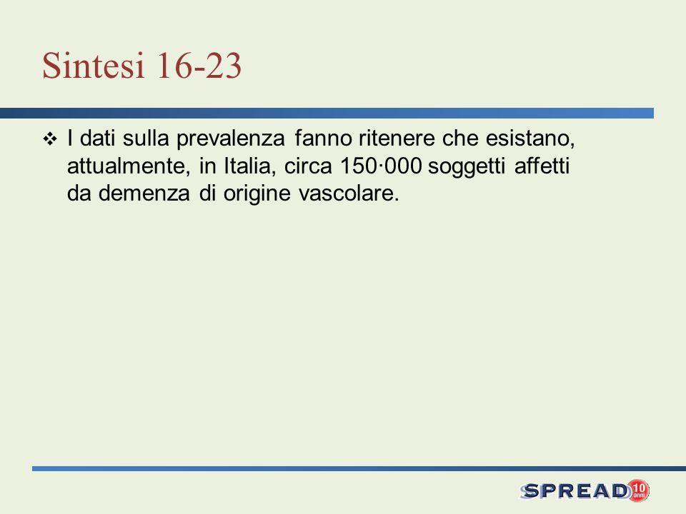 Sintesi 16-23 I dati sulla prevalenza fanno ritenere che esistano, attualmente, in Italia, circa 150·000 soggetti affetti da demenza di origine vascol