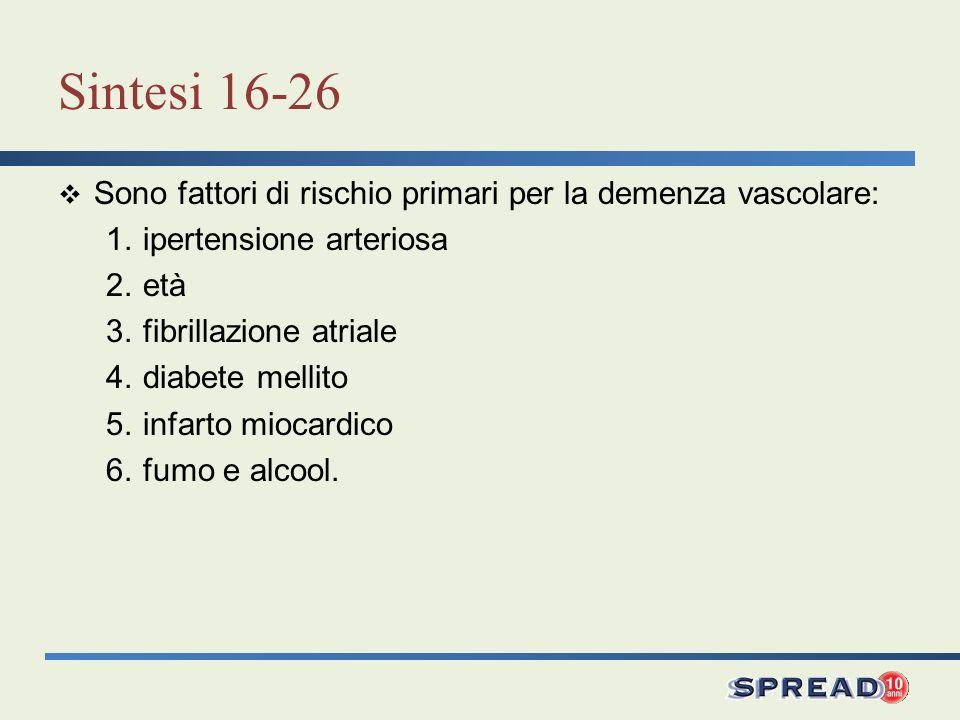 Sintesi 16-26 Sono fattori di rischio primari per la demenza vascolare: 1.ipertensione arteriosa 2.età 3.fibrillazione atriale 4.diabete mellito 5.inf