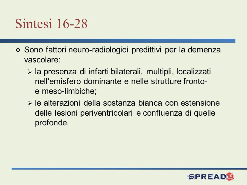 Sintesi 16-28 Sono fattori neuro-radiologici predittivi per la demenza vascolare: la presenza di infarti bilaterali, multipli, localizzati nellemisfer