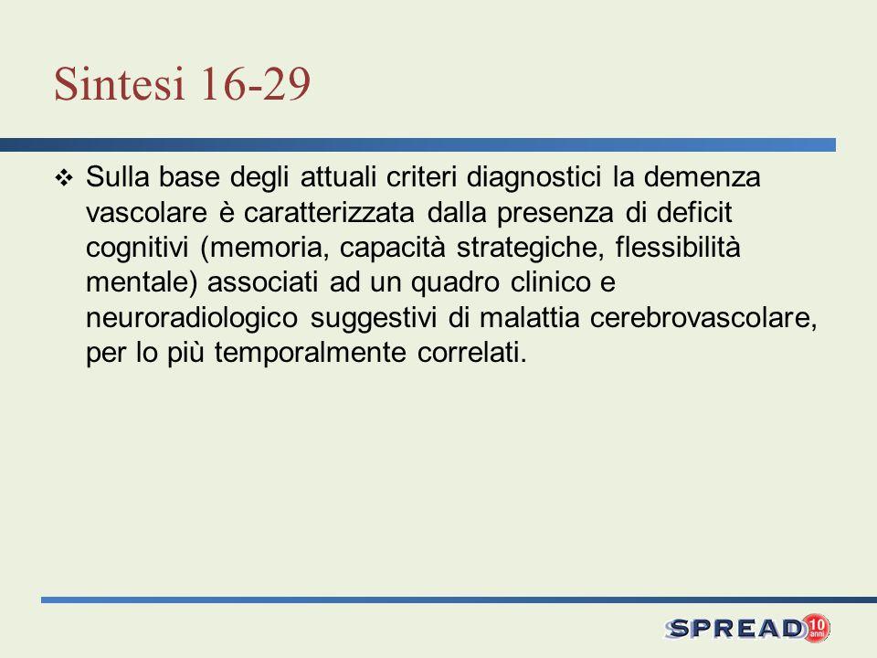 Sintesi 16-29 Sulla base degli attuali criteri diagnostici la demenza vascolare è caratterizzata dalla presenza di deficit cognitivi (memoria, capacit