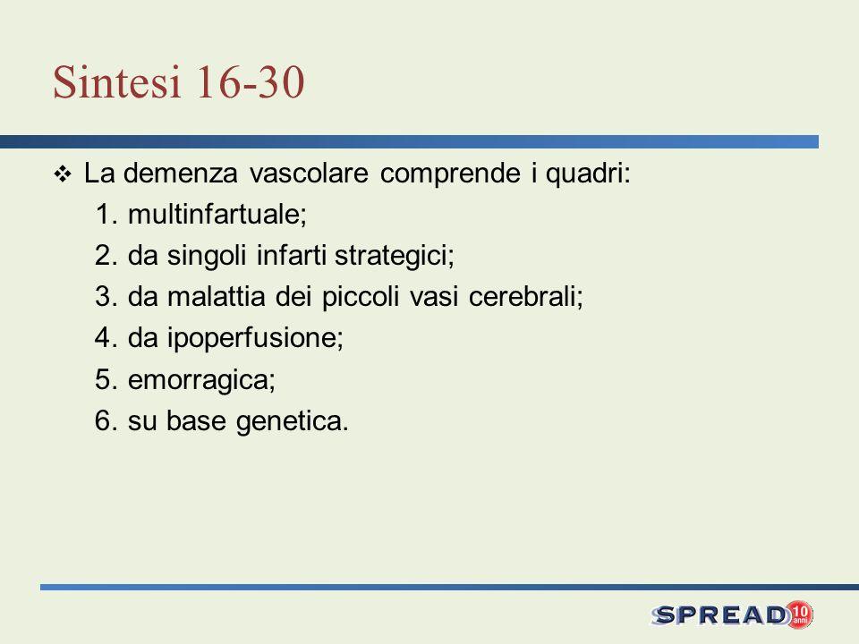 Sintesi 16-30 La demenza vascolare comprende i quadri: 1.multinfartuale; 2.da singoli infarti strategici; 3.da malattia dei piccoli vasi cerebrali; 4.