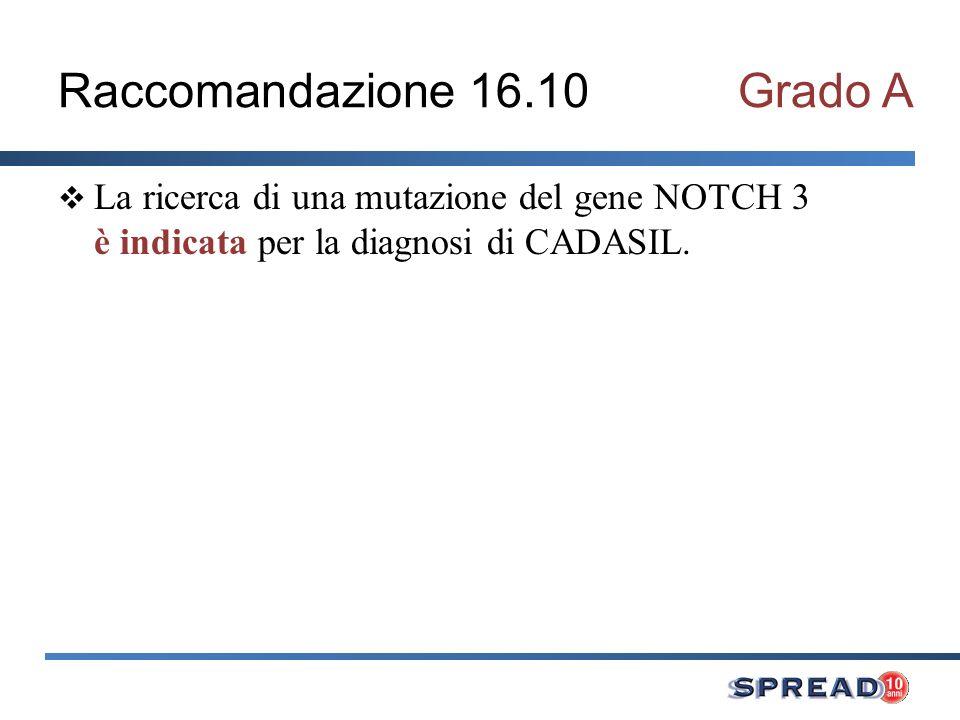 Raccomandazione 16.10Grado A La ricerca di una mutazione del gene NOTCH 3 è indicata per la diagnosi di CADASIL.