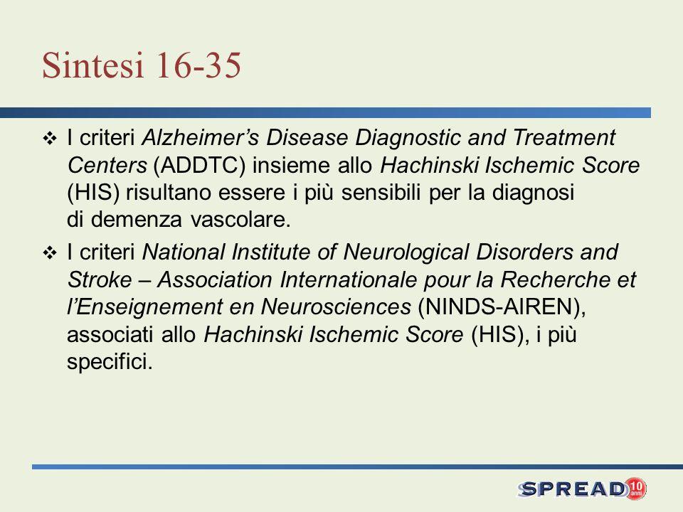 Sintesi 16-35 I criteri Alzheimers Disease Diagnostic and Treatment Centers (ADDTC) insieme allo Hachinski Ischemic Score (HIS) risultano essere i più
