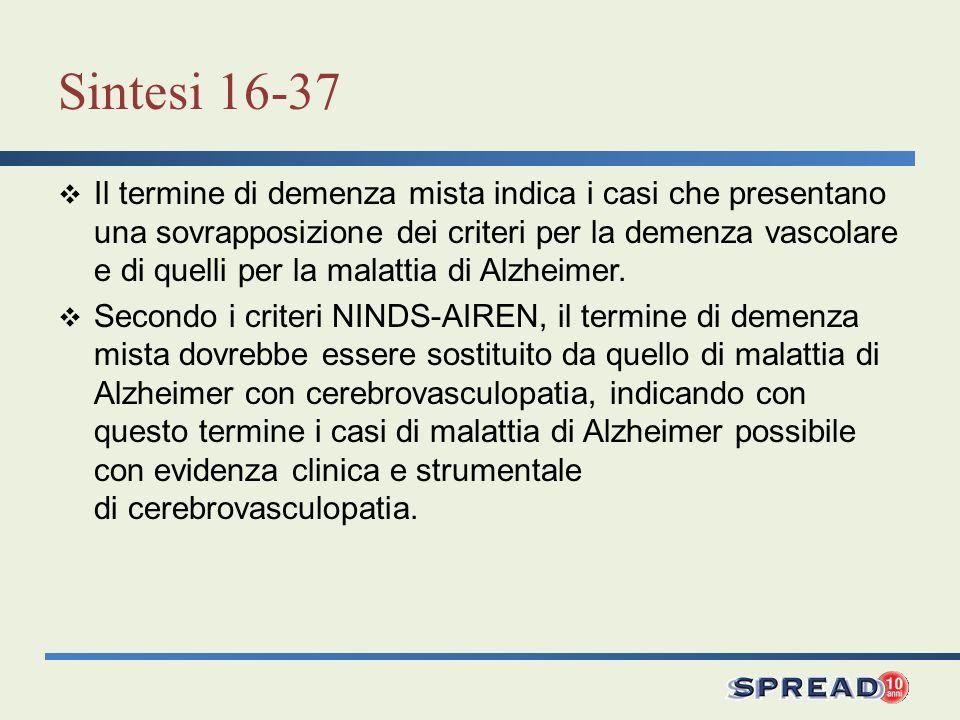 Sintesi 16-37 Il termine di demenza mista indica i casi che presentano una sovrapposizione dei criteri per la demenza vascolare e di quelli per la mal