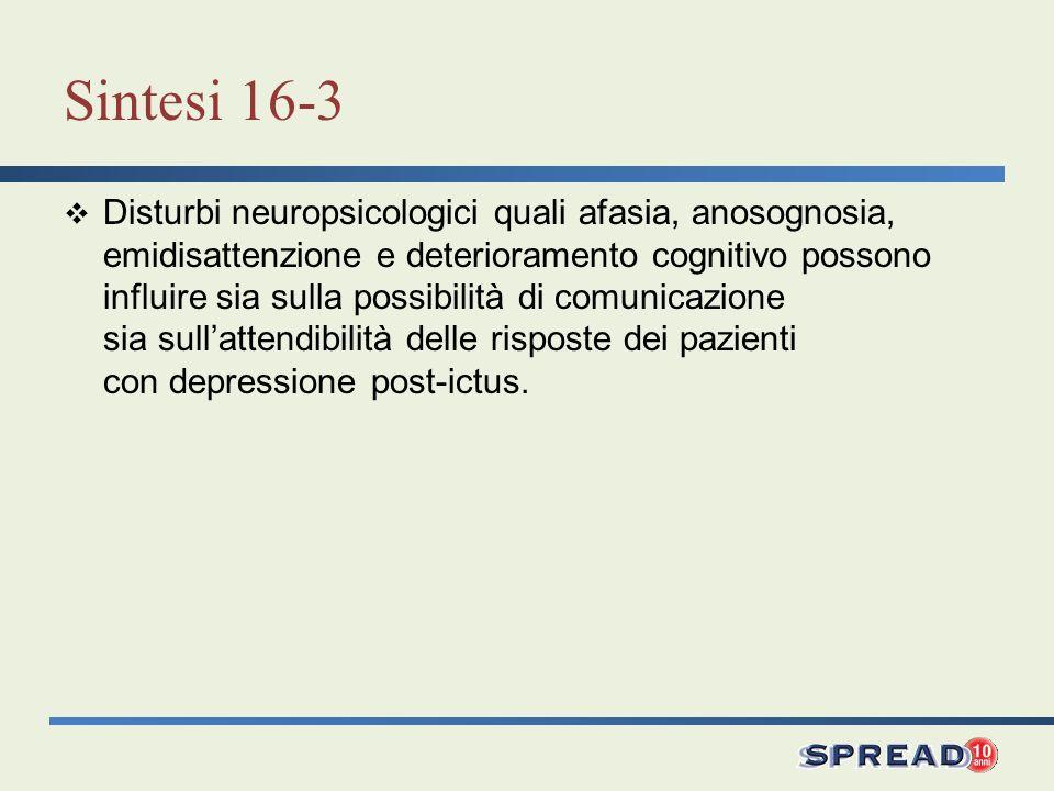 Sintesi 16-3 Disturbi neuropsicologici quali afasia, anosognosia, emidisattenzione e deterioramento cognitivo possono influire sia sulla possibilità d
