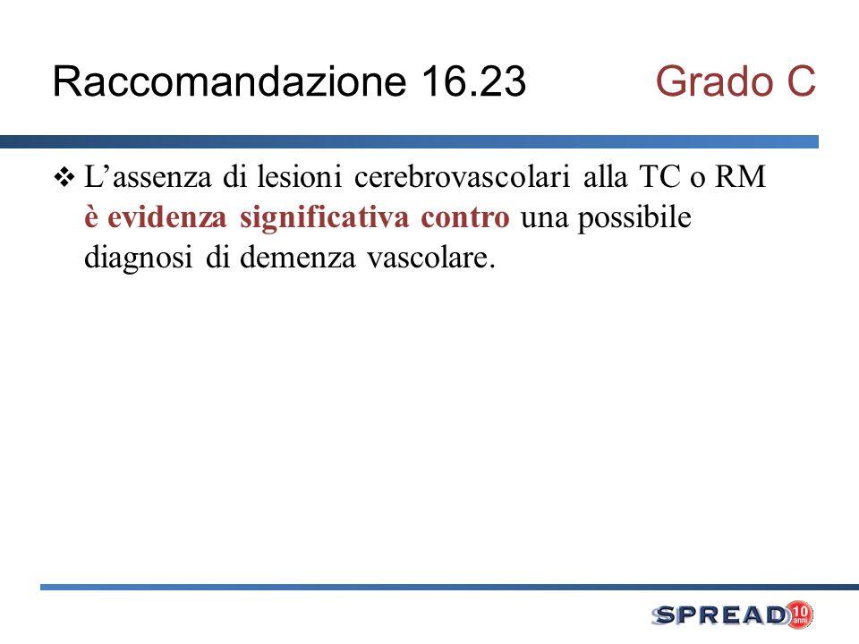 Raccomandazione 16.23Grado C Lassenza di lesioni cerebrovascolari alla TC o RM è evidenza significativa contro una possibile diagnosi di demenza vasco