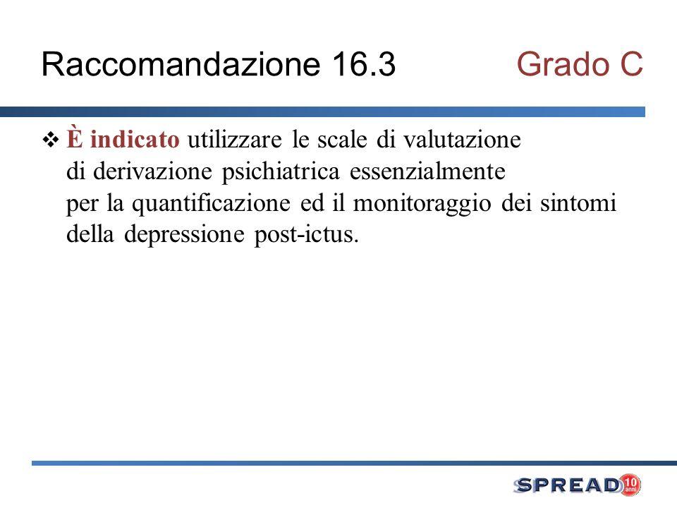 Raccomandazione 16.3Grado C È indicato utilizzare le scale di valutazione di derivazione psichiatrica essenzialmente per la quantificazione ed il moni