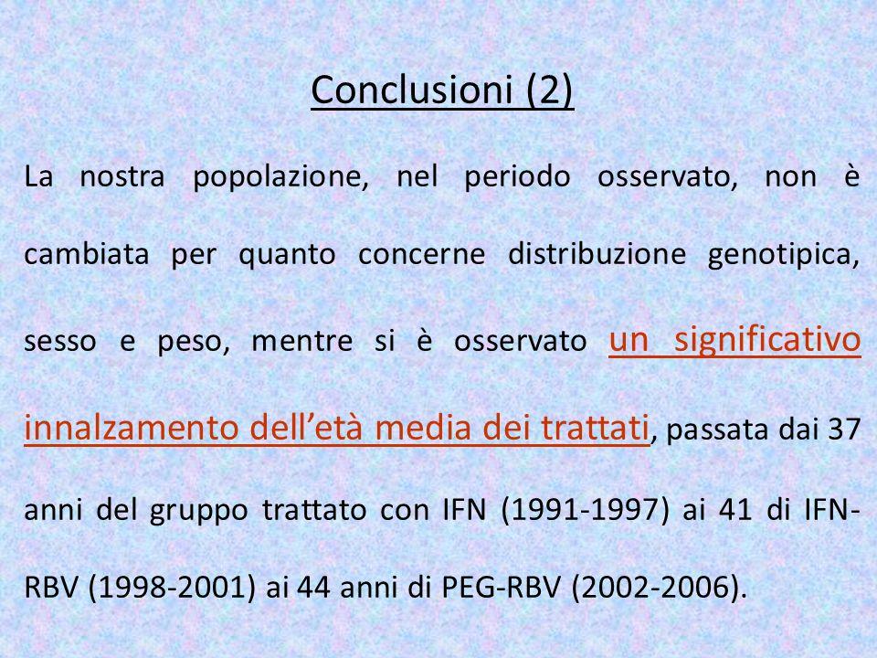 Conclusioni (2) La nostra popolazione, nel periodo osservato, non è cambiata per quanto concerne distribuzione genotipica, sesso e peso, mentre si è o