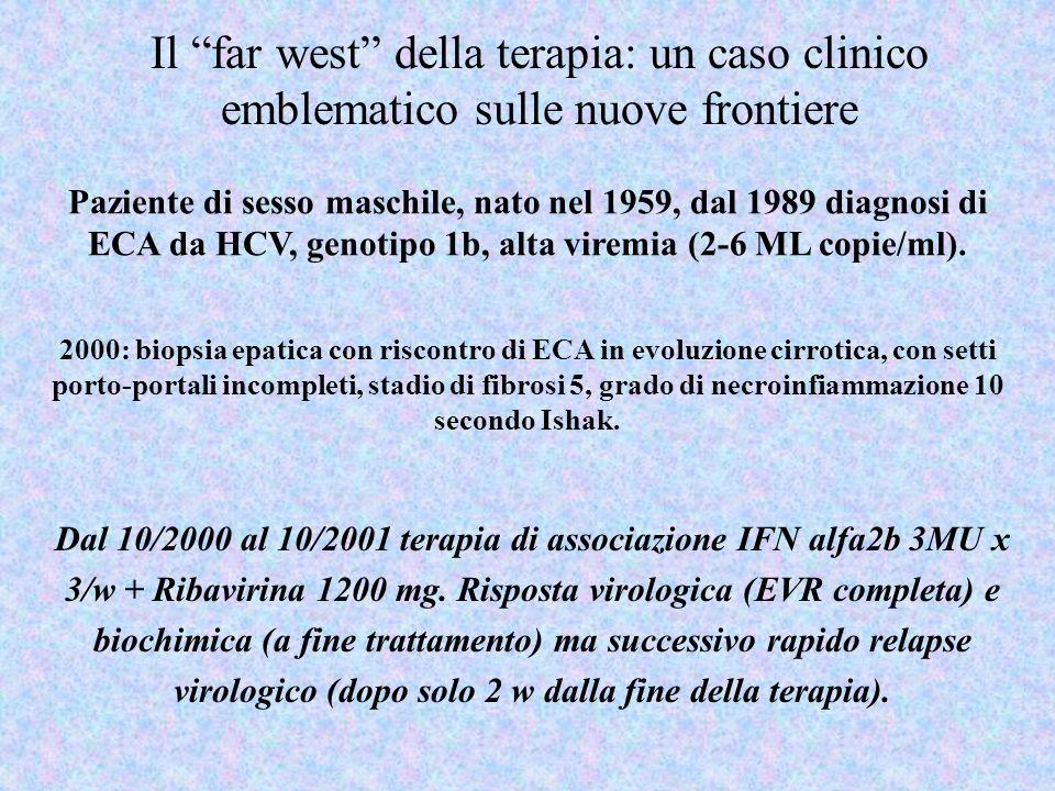 Dal 10/2000 al 10/2001 terapia di associazione IFN alfa2b 3MU x 3/w + Ribavirina 1200 mg. Risposta virologica (EVR completa) e biochimica (a fine trat