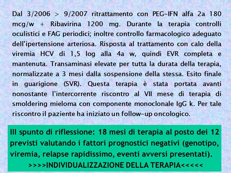 Dal 3/2006 > 9/2007 ritrattamento con PEG-IFN alfa 2a 180 mcg/w + Ribavirina 1200 mg. Durante la terapia controlli oculistici e FAG periodici; inoltre