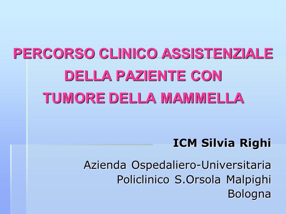 PERCORSO CLINICO ASSISTENZIALE DELLA PAZIENTE CON TUMORE DELLA MAMMELLA ICM Silvia Righi Azienda Ospedaliero-Universitaria Policlinico S.Orsola Malpig
