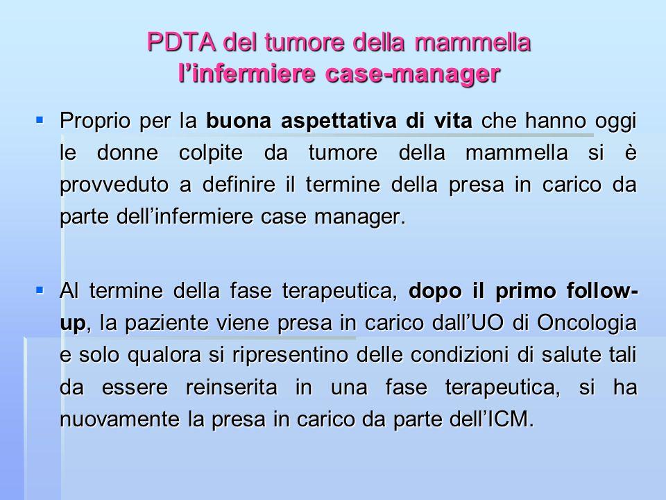PDTA del tumore della mammella linfermiere case-manager Proprio per la buona aspettativa di vita che hanno oggi le donne colpite da tumore della mamme