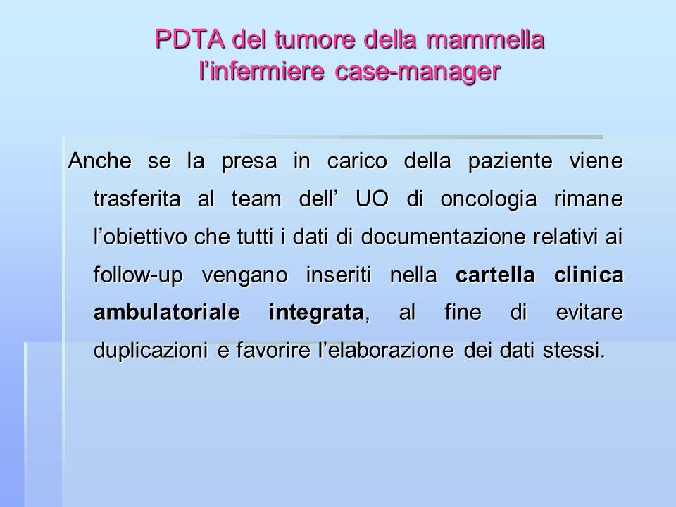 PDTA del tumore della mammella linfermiere case-manager Anche se la presa in carico della paziente viene trasferita al team dell UO di oncologia riman