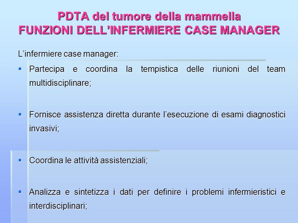 PDTA del tumore della mammella FUNZIONI DELLINFERMIERE CASE MANAGER Linfermiere case manager: Partecipa e coordina la tempistica delle riunioni del te