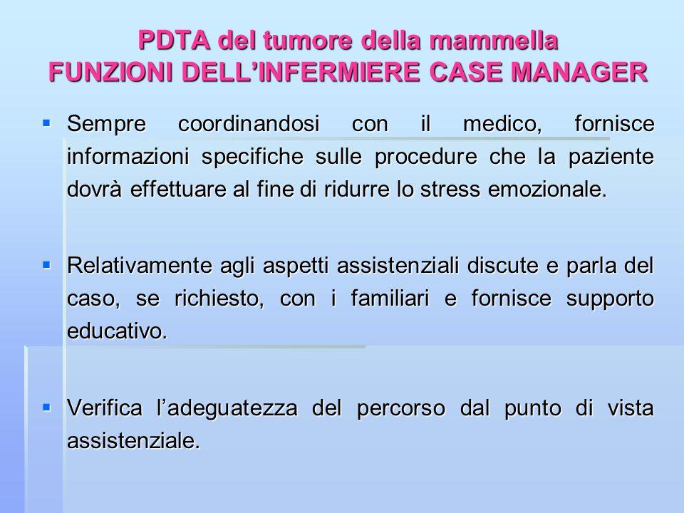 PDTA del tumore della mammella FUNZIONI DELLINFERMIERE CASE MANAGER Sempre coordinandosi con il medico, fornisce informazioni specifiche sulle procedu