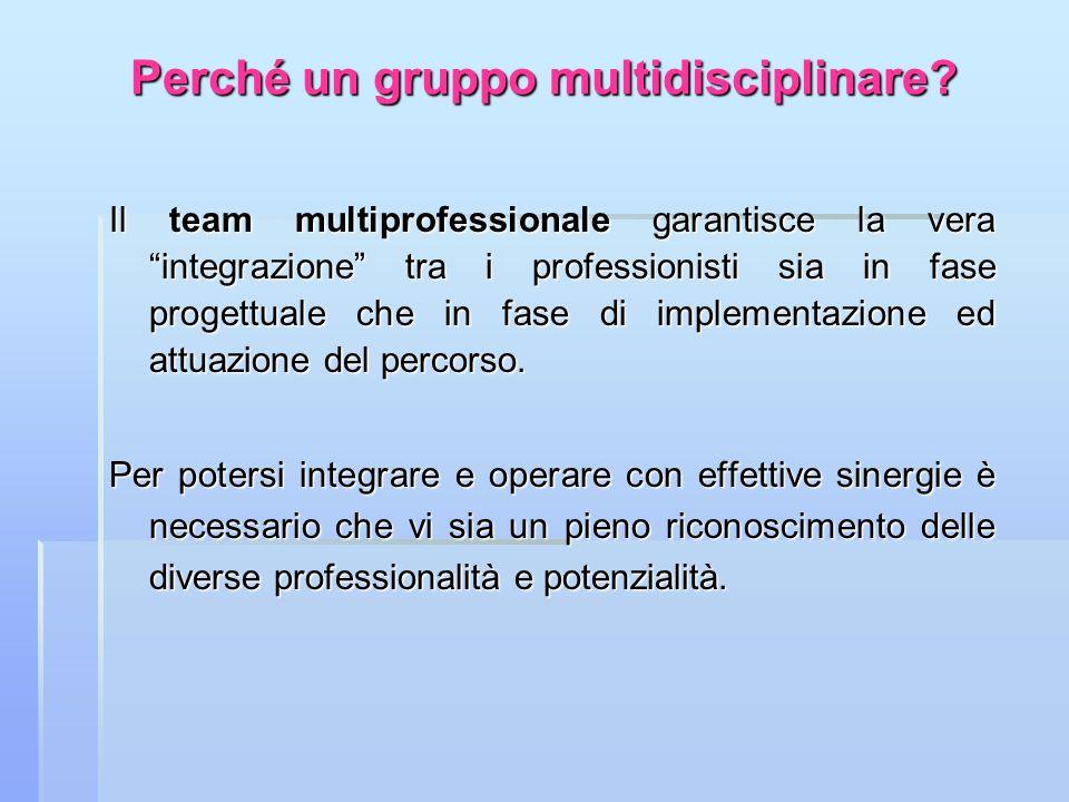 Perché un gruppo multidisciplinare? Il team multiprofessionale garantisce la vera integrazione tra i professionisti sia in fase progettuale che in fas