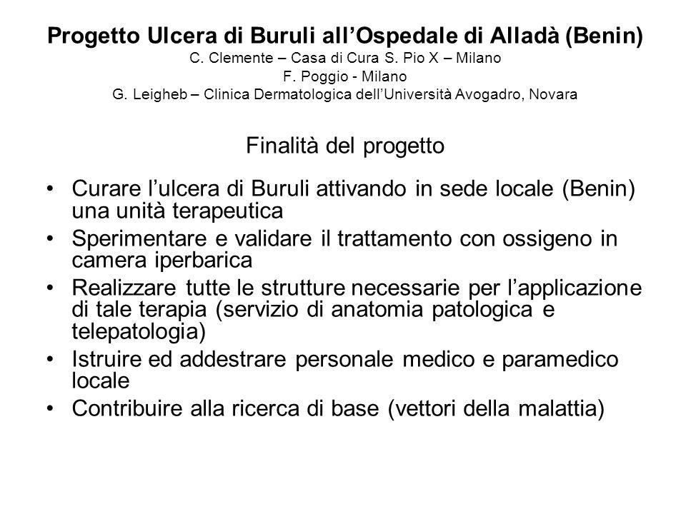 Progetto Ulcera di Buruli allOspedale di Alladà (Benin) C. Clemente – Casa di Cura S. Pio X – Milano F. Poggio - Milano G. Leigheb – Clinica Dermatolo