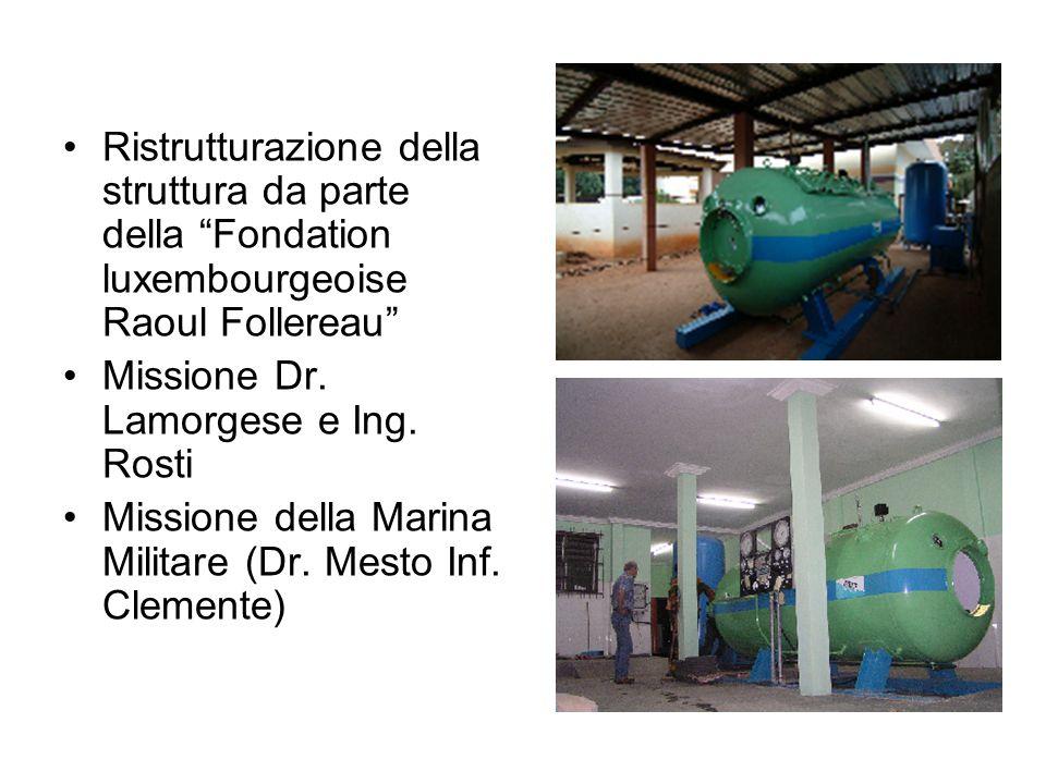 Ristrutturazione della struttura da parte della Fondation luxembourgeoise Raoul Follereau Missione Dr. Lamorgese e Ing. Rosti Missione della Marina Mi