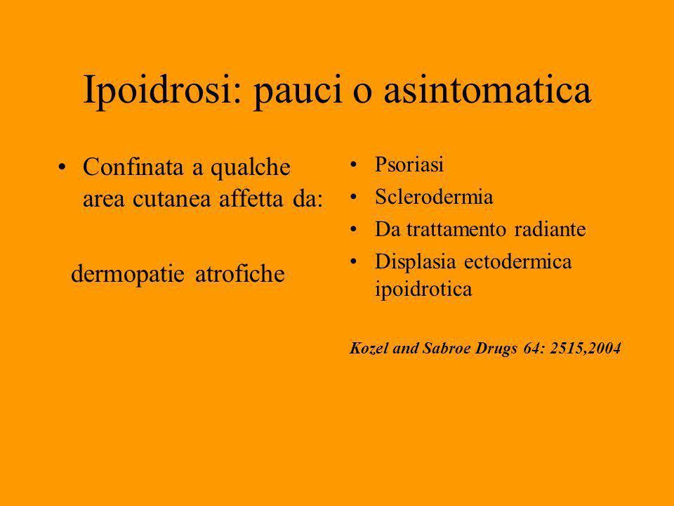 Ipoidrosi: pauci o asintomatica Confinata a qualche area cutanea affetta da: dermopatie atrofiche Psoriasi Sclerodermia Da trattamento radiante Displasia ectodermica ipoidrotica Kozel and Sabroe Drugs 64: 2515,2004