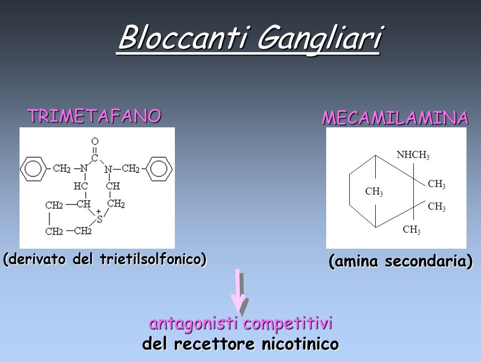 Bloccanti Gangliari antagonisti competitivi del recettore nicotinico TRIMETAFANO (derivato del trietilsolfonico) MECAMILAMINA (amina secondaria) CH 3
