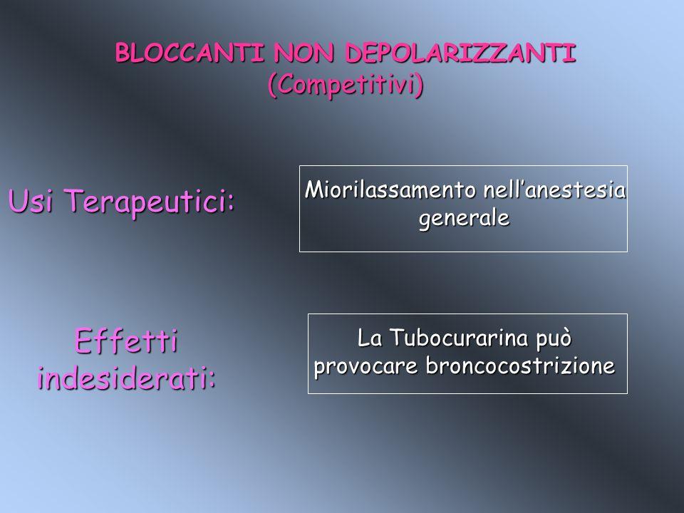 BLOCCANTI NON DEPOLARIZZANTI (Competitivi) Usi Terapeutici: Miorilassamento nellanestesia generale Effetti indesiderati: La Tubocurarina può provocare