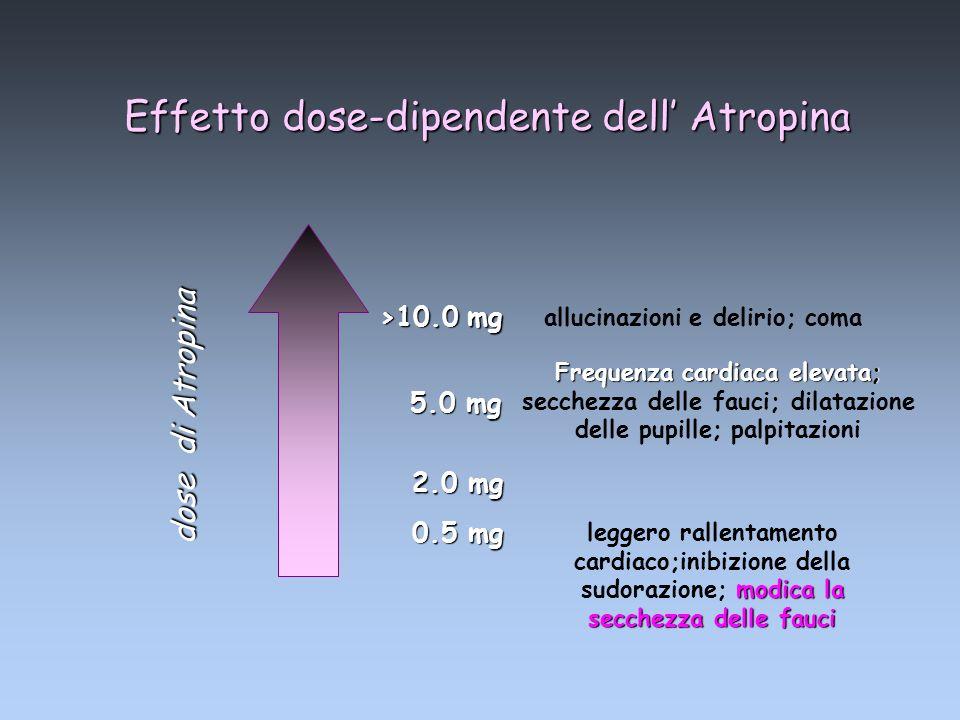 Effetto dose-dipendente dell Atropina allucinazioni e delirio; coma Frequenza cardiaca elevata; Frequenza cardiaca elevata; secchezza delle fauci; dil